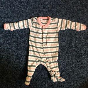 Stripped footed pajamas newborn